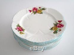 Set of 11, Shelley England Begonia Fine Bone China Salad Plate, Vintage