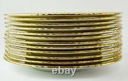 Set of 12 10.75 Minton H4253 Scalloped Gold Rim China Dinner Plates SB51
