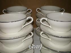 Set of 12 Wedgwood DORIC Bone China England Platinum Band Cream Soup Bowl Saucer