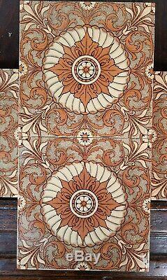 Set of 4 Antique Mintons China Works Floral Tile England Victorian Art Nouveau