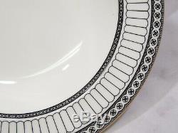 Set of 4 Wedgwood England Bone China COLONNADE BLACK 8 Rimmed Soup Bowls RARE