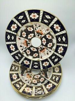 Set of 5 Vintage Royal Crown Derby #2451 England Bone China Dinner Plates