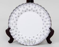 Set of 6 SPODE Fine China Dinner Plates Fleur De Lys Platinum Trim White England