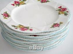 Set of 6, Shelley England Begonia Dainty Shape Fine Bone China Dinner Plate
