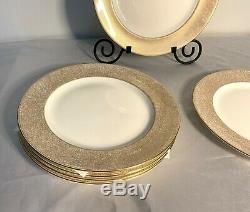 Set of 6 Spode Fine Bone China England Y8590 Z Europa Gold Dinner Plates 12.5