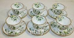 Set of 6 VINTAGE Royal Albert Bone China White Dogwood Cup and Saucer, England