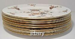 Set of 8 Coalport Khotar Floral Dinner Plates Gold Rim, Fine Bone China, England