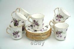 Set of 8 Cups & Saucers HAMMERSLEY Bone China England VICTORIAN VIOLETS