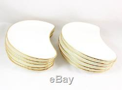 Set(s) 6 Crescent Shape Salad Plate Vintage Minton Bone China England Gold White