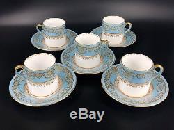Shelley 12886/25 Blue Coffee Cup Saucer Set For 5 Rare Bone China England