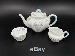 Shelley Blue Rock 4 Cups Teapot Creamer Sugar Bowl Set Bone China England