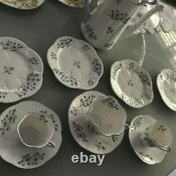 Shelley Blue Rock Part Coffee Set With Rare Coffee Pot Bone China England