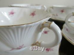 Shelley Bone China England Dainty Pink Roses Set Of 4 Cream Soup Bowl And Saucer