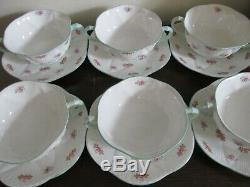 Shelley Bone China England Dainty Rosebud Set Of 6 Cream Soup Bowl And Saucer