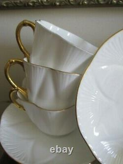 Shelley Bone China England Dainty White Set Of 8 Cup And Saucer