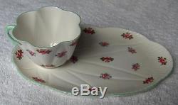 Shelley China England Rosebud snack setDainty shapeHTF oval snack trayNR