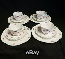 Shelley China Rosebud Cups Saucers Plates 12 Piece Set 134226 Made in England