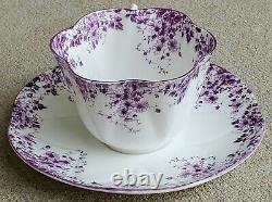Shelley DAINTY MAUVE Teacup and Saucer Set England Bone China Purple Daisies