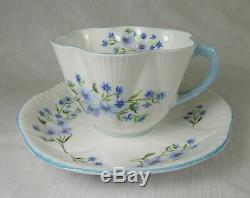 Shelley England Blue Rock Fine Bone China Tea Cups & Saucers + Miniature Set
