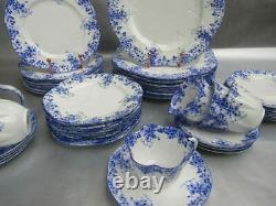 Shelley England Bone China Set of Dishes for 8 Dainty Blue Pattern 48 Pcs