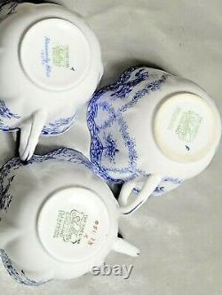 Shelley England Fine Bone China 3 Set Of Various Blue Pattern Tea Cup Saucer