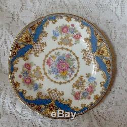 Shelley England, Fine China Tea Set, 21 Pieces, Sheraton Blue Pattern 13291. Vgc