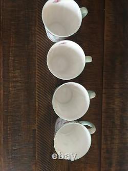 Shelley Rosebud Dainty Coffee Mugs Set Of 4 Coffee Cups Fine Bone China England