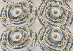 Shelley Vintage Dubarry Blue Bone China 20 PCs Plate Settings for 4 Pers England