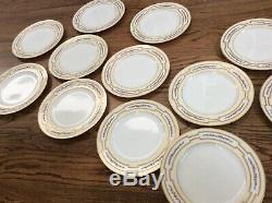 Spaulding Chicago England Porcelain China Set 12 dinner Plates 10.25 gold rim