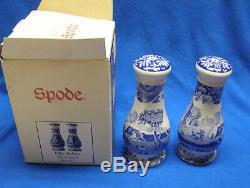 Spode China Blue Italian Oversized Salt and Pepper Shaker Set England