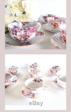 Spode Copeland China England Tea Set Chelsea Garden Set 7 Tea Cup Saucers