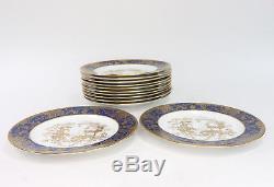 Spode Copeland China Salad Plates Cobalt Blue Gold Trim England Y7292 Set of 12