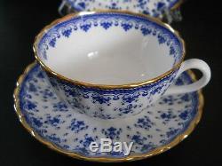 Spode England Bone China Fleur De Lys (Lis) Blue 5 pc Place Setting Gold #Y8008