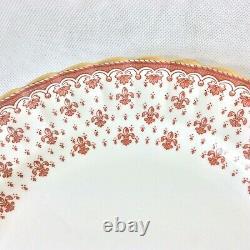 Spode Fleur De Lys Red England Set 3 Dinner Plates Fine Bone China 10.75d Y7481
