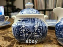 Staffordshire Ironstone Liberty Blue 6 Piece China Set England Colonial Scenes