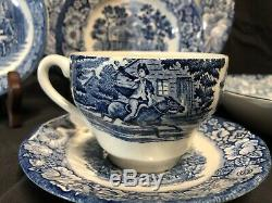 Staffordshire Liberty Blue 69 Piece China Set England Ironstone Colonial Scenes
