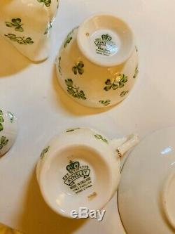 Tea Set AYNSLEY Shamrock BONE CHINA (England) Clover Irish Teapot Service For 2