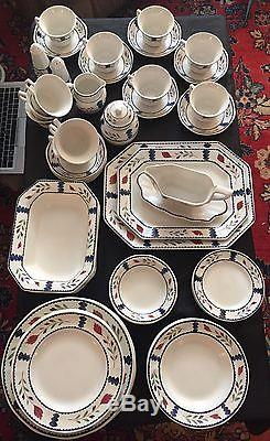 VINTAGE ADAMS CHINA LANCASTER IRONSTONE 8 Place Settings +Serving Pcs. ENGLAND