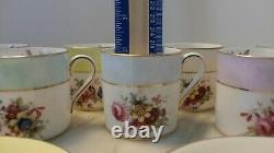 VINTAGE SET OF 8 Pastel DEMITASSE CUPS & SAUCERS Hammersley & Co. China England
