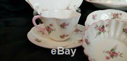 VINTAGE SHELLEY ENGLAND BONE CHINA BREAKFAST SET ROSE SPRAY 13545 12pcs DAINTY