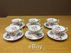 VIntage Royal Albert Bone China Pink Rose Footed Cup & Saucers (6 Sets) England
