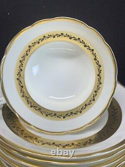 VTG Coalport CITATION White Gold Border Bone China Tea Cup & Saucer Set Of 12