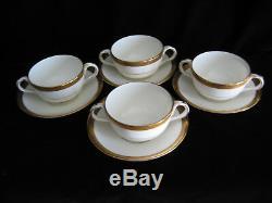 VTG MCM Royal Cauldon China 4 Bouillon Soup Bowl Sets L4142 England Gold Trim