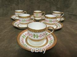 Victorian Late 19th Century Wedgwood China England Demi Cup and Saucer Lot 6 set