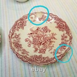 Vintage 1931 Bristol Crown Ducal Pink Cream 18pc China Set England Dishes Cups