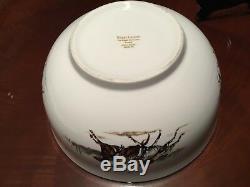 Vintage 1983 Polo Scene Ralph Lauren ENGLAND Fine China Large Bowl 4 Plates SET