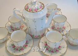 Vintage Adderly England Bone China Flowers Vines Chocolate Set Coffee Pot Cups