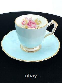 Vintage Ansley Bone China 30 Aqua Tea Cup & Saucer Set 1775 England Pink Rose