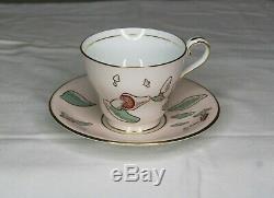 Vintage Aynsley Mushroom Cup & Saucer Set England Gold Rimmed Bone China