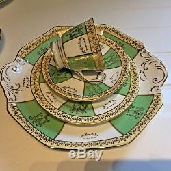 Vintage Bone China Tea Set Royal Stafford 10 Trios Octagonal Green Gold 34-Piece